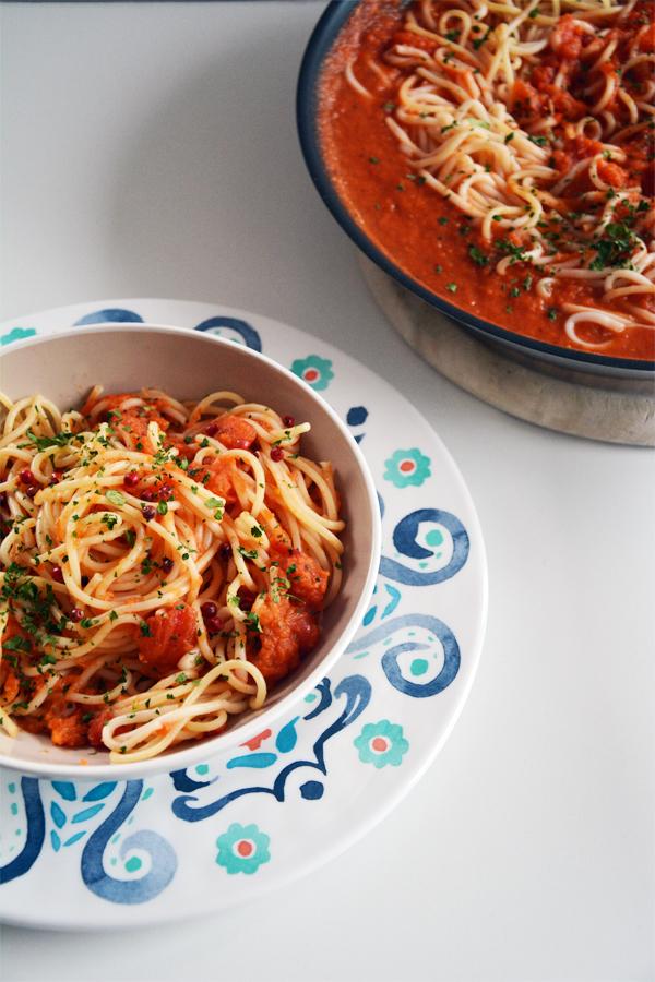 Makaron z dynią i sosem pomidorowym 1